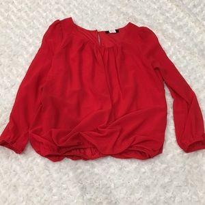 Papermoon bubble hem 3/4 sleeve blouse backkeyhole